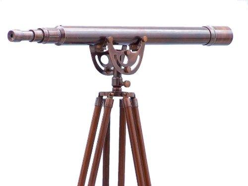 "Hampton Nautical  Floor Standing Antique Copper Anchormaster Telescope, 65"", Copper"