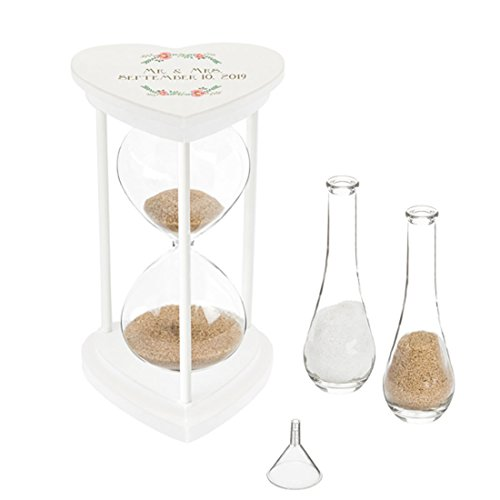 Cathy's Concepts Sands of Time Hourglass Unity Sand Ceremony Candle Alternative (Personalized Floral Set) ()