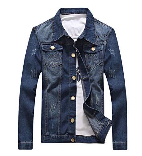 Xinheo Pulsante Girano Verso Mens Afflitto Magro Giacca Collare Il Blu Jean Tasca Basso qUfXRd1w