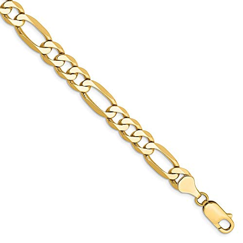 14k Yellow Gold 7mm Flat Link Figaro Bracelet Chain 8 Inch Necklace Pendant Charm Fine Jewelry Gifts For Women For - Bracelet Figaro Mm 14