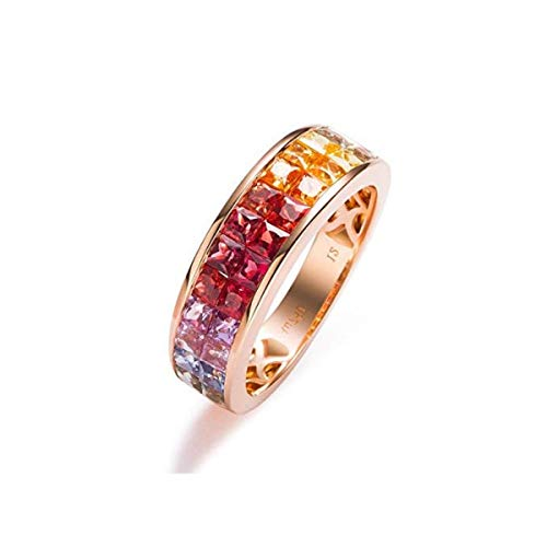 Carleen 18K Solid Rose Gold 2.56 Carats Multi Color Rainbow Sapphire Engagement Ring For Women Girls