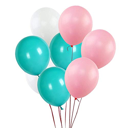 FUNPRT 11 Inch White,Soft Pink,Turquoise Latex Balloons,100 Count