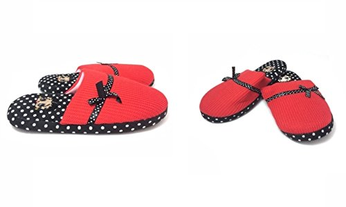 Betty Boop Ultra-Soft Women's Plush Pinup Scuffs Cozy Non-Skid Slippers - Great for Gifts (X-Large, Polka Dot)