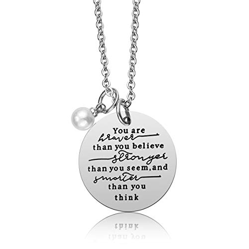 Always Remember You Are Braver Than You Believe Pendant Necklace, Inspirational Jewelry Gift for Women Teen Girls, Birthday Gifts for Sister Friends Daughter, Stainless Steel, 18'' (You Are Braver) ()