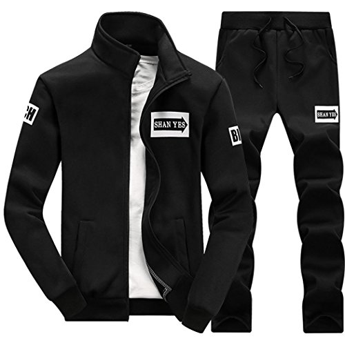M-LORD (TM) Mens Long Sleeve Sweatsuit Jogger Baseball Jacket & Pants Black - Discount Code Uk Very