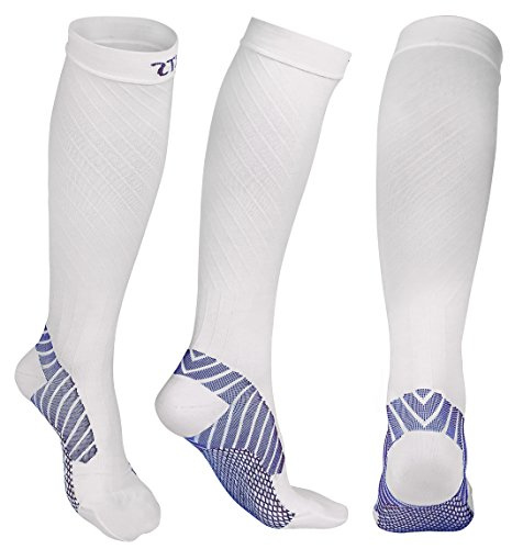 - Compression Socks 20-30 mmHg for Men and Women, Graduated Athletic Compression Stockings Knee High for Running Nurse Pregnancy Flight Circulation Recovery(Size M, White)