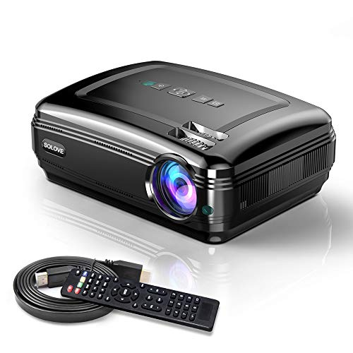 Video Projectors, SOLOVE HDMI Projector Full HD 1080P Home Theater Projector for Movie and PowerPoint Presentation for Laptop PC TV iPhone Android -