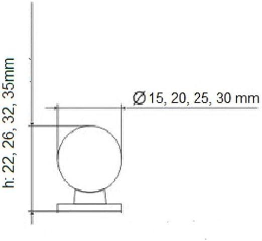 5 x SO-TECH/® M/öbelknopf Edelstahl M/öbelgriff Schubladengriff Edelstahlknopf rund EK12 /Ø 20 x H 33 mm Vollmaterial MASSIV rostfrei