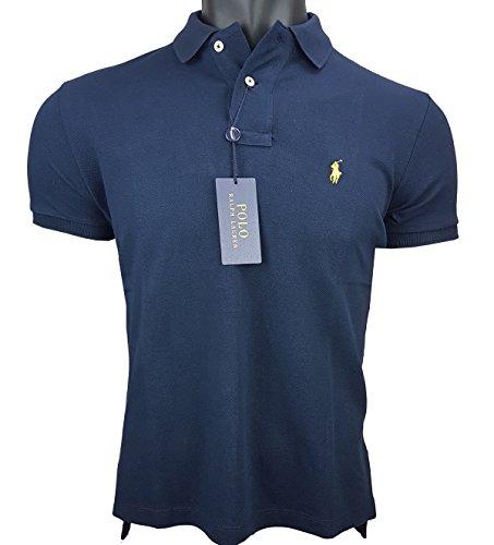 Ralph Lauren Poloshirt Herren Custom fit small pony Gr. M fallen kleiner aus / navy Reiter gelb