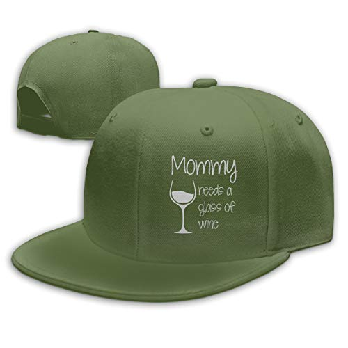 Funny Cap Mom Need A Glass of Wine Unisex Flat Baseball Caps Adjustable Trucker Hat Moss Green
