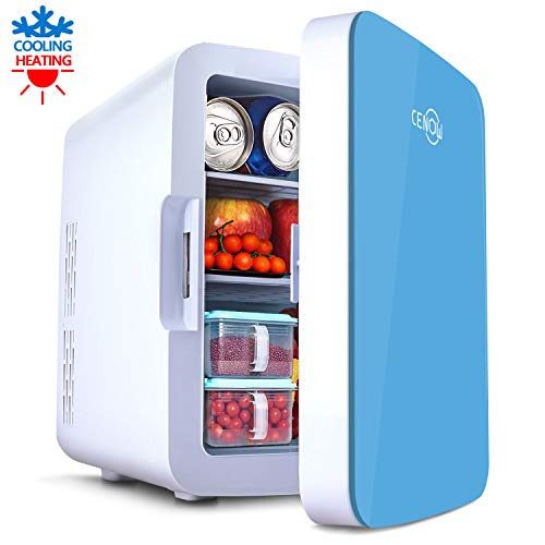 Mini Fridge with Cooler and Warmer, 10 Liter Large Capacity Portable Compact Fridge, Mini Refrigerator with AC/DC Dual Power Mode for Home Car Office Dormitory (Blue, 10L)