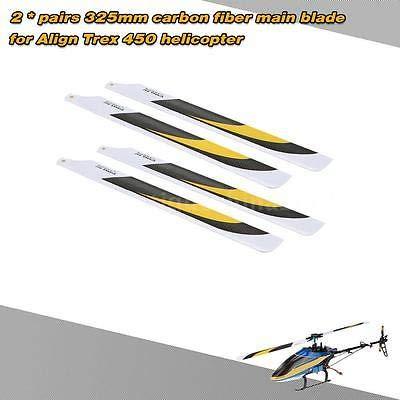 FidgetKute 2 Pairs Carbon Fiber 325mm RC Main Blades for Align Trex 450 Helicopter K5G7