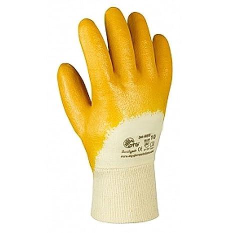 48 Paar Latex-//Sicherheitshandschuhe gelb mit Stulpe Größe 10