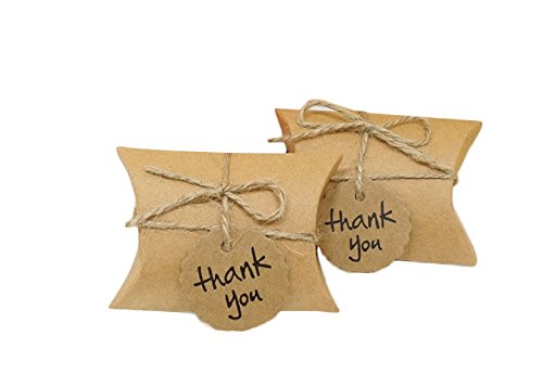 - Yalulu 50pcs Kraft Paper Pillow/Square Candy Box Rustic Wedding Favors Candy Holder Bags Wedding Party Gift Boxes with Thank You Tags (Pillow)