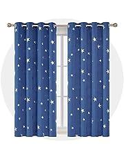 Deconovo Tende Oscuranti Termiche Isolanti Stampate con Stelle in Tessuto Pesante per Finestre Interni 2 Pannelli