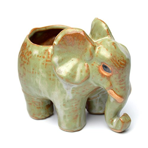 COOLSKY Cute Elephant Design Vintage Ceramic Succulent Planter/Flower/Bonsai Pots Home Office Décor,2#