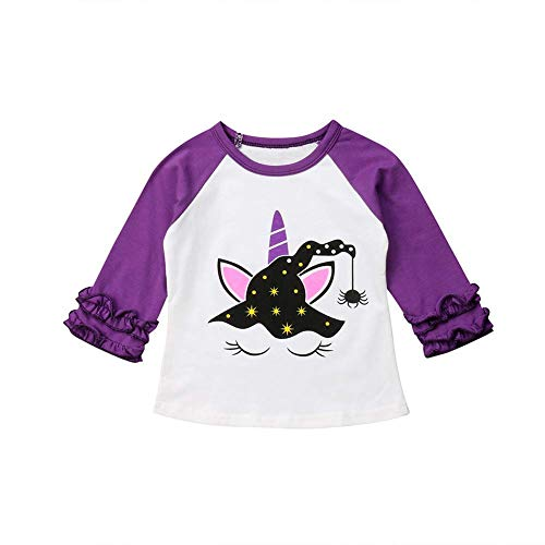 Baby Kids Girl Unicorn Halloween Pumpkin Car Print Ruffle Polka Dot Long Sleeve Cotton T-Shirt Top Outfits (Purple, 12 Month) -