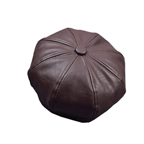 ACVIP Women's Solid Color PU Leather Beret Painter Hat Octagonal Cap (Coffee)
