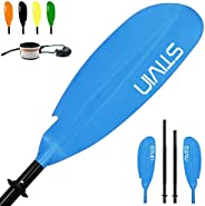 STIVIN Kayak Paddle Adjustable 4 Pieces Aluminum Shaft PP Blade Floating with Free Leash Comfort Non-Slip Grip