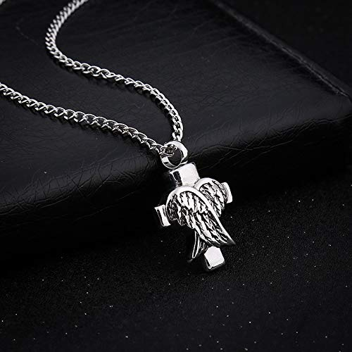 Euone  Valentine Clearance Sale , Ashes Memorial Angel Wings Shaped Pendant Can Open The Urn Necklace ()