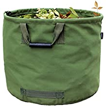 Amatory Garden Lawn Leaf Yard Waste Bag Container Tote Gardening Trash Reusable Heavy Duty Military Canvas Fabric 33 Gallon (Green)