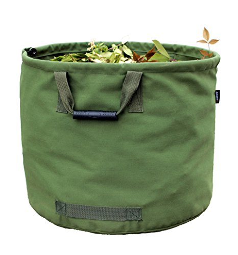Garden Bags Reusable Yard Waste Bag Gardening Trash Lawn Leaf Bag Heavy Duty Military Canvas Fabric (Green) (Canvas Garden Tote)