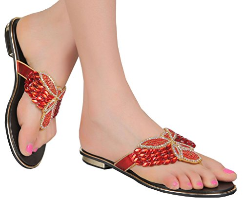 Sandali In Microfibra Flip-flop Flat Con Strass Da Donna Abby