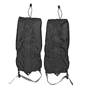 Astra Depot 1 Pair Jet Black Unisex Double Sealed Zippered Closure TPU Strap Waterproof 400D Nylon Cloth Leg Gaiters Leggings Cover for Biking Boating Fishing Skiing Snowboarding Hiking Climbing Hunting