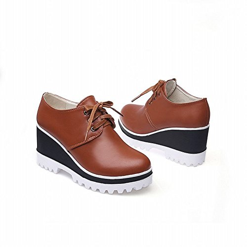 Carolbar Womens Lace Up Mode Rétro Vintage Populaire Coin Talon Oxfords Chaussures Jaune Marron