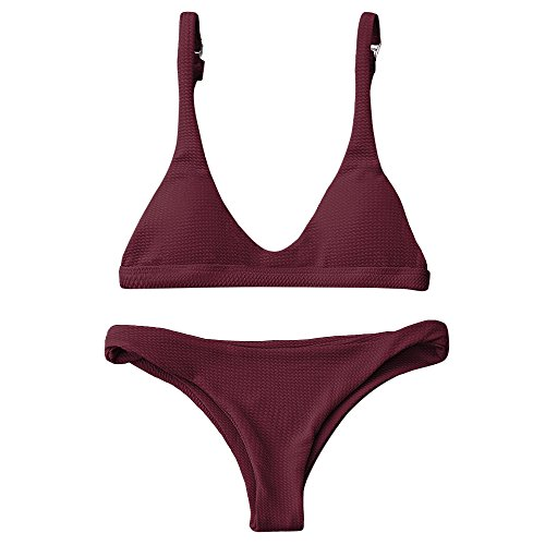 coop Neck 2 Pieces Push Up Swimsuit Revealing Thong Bikinis V Bottom Style Brazilian Bottom Bra Sets(BURGUNDY S) ()