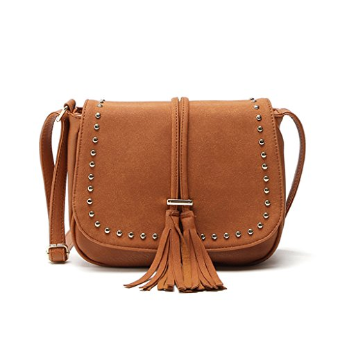 Wanfor Embroidery Boho Tassel Shoulder Bag Tote Messenger for Women Girl Brown