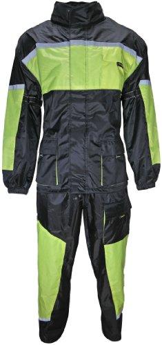 Motorrad Regenkombi Regenhose Regenjacke schwarz neon grün Gr. M