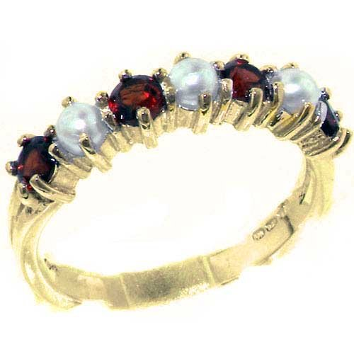 - LetsBuyGold 14k Yellow Gold Cultured Pearl & Garnet Womans Eternity Ring - Size 11.75