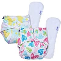 Basic by Superbottoms - Pack of 2-2 Certified Soft Fleece Lined Pocket Diapers with 2 Wet Free Inserts with Snaps