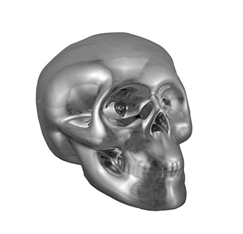Silver Plated Body (Ceramic Toy Banks 3 1/2 Inch Tall Silver Chrome Plated Ceramic Human Skull Money Bank 5 X 3.5 X 3.25 Inches Silver Model # 37069-SV)