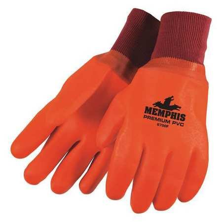 Chemical Resistant Gloves, PVC, L, 12''L, Foam, Knit, 12 pk.