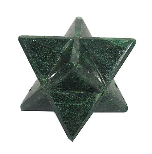 Indian Fashion Hut Geometry Merkaba Sacred Star Green Jade Gemstone Spiritual Reiki Healing Crystal
