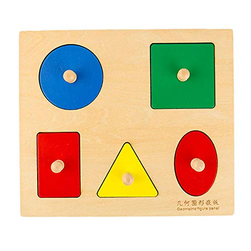Montessori Wooden Puzzle Board Knob Wooden Puzzle Geometric Shape Puzzle Early Education Material Sensorial Toy for Toddler Shape & Color Sorter (5 Geometry Shape)