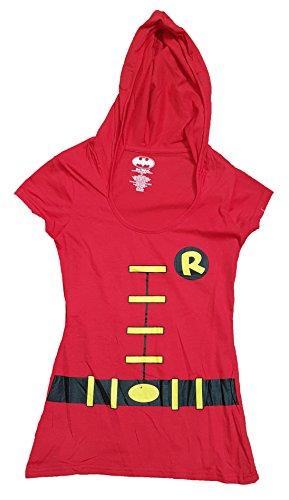 Halloween Juniors DC Comics Robin Costume Hoodie Graphic T-Shirt - Medium (Robin Shirt Costume)