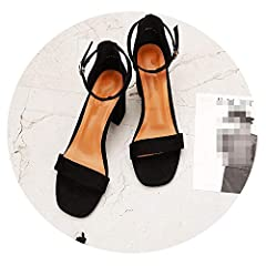 Closure Type:Buckle Strap Style:Fashion Fit:Fits true to size, take your normal size Pattern Type:Solid Heel Type:Square heel Heel Height:High (5cm-8cm) Department Name:Adult Platform Height:0-3cm Item Type:Sandals Upper Material:Flock Insole...