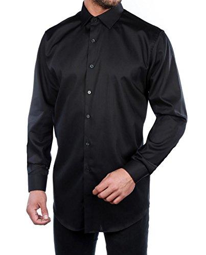 Kenneth Cole Reaction Black 100% Cotton Dress Shirt Black 17/36 - Kenneth Cole Long Sleeve Dress Shirt