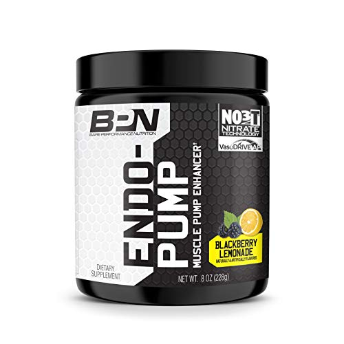 Bare Performance Nutrition, Endo Pump Muscle Pump Enhancer, L-Citrulline, NO3-T Betaine Nitrate & VasoDrive-AP Hydrolyzed Casein Tripeptides (30 Servings, BlackBerry Lemonade)