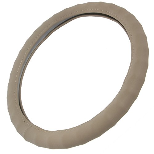"BDK Genuine Leather Steering Wheel Cover Medium 14.5""-15.5"" Beige"