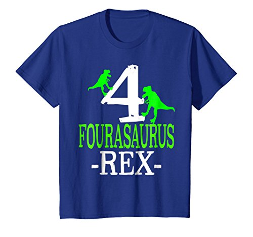 4th Birthday Kids T-shirt - Kids Kids 4th birthday children's tshirt boy dinosaur birthday 6 Royal Blue