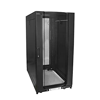 """StarTech.com 25U Server Rack Cabinet - 4-Post Adjustable Depth (7"""" to 35"""") Network Equipment Rack Enclosure w/Casters/Cable Management (RK2537BKM) (B0733VVD3F) 