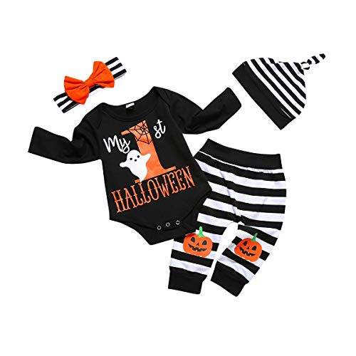 Newborn Baby Halloween Costumes 4Pcs Outfits Set Letter Rompers Pumpkin Printing Baby Boys Girls Clothes My First Halloween ()