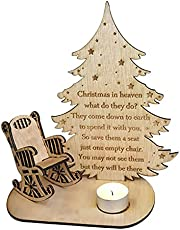 Christmas Remembrance Candle Ornament to Remember Loved Ones,Christmas Remembrance Candle Ornament,Wooden Candle Holder with Chair Desktop Memorial Decor
