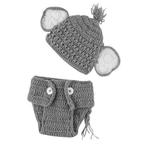 puseky Infant Baby Boy Girl Knit Crochet Elephant Hat + Briefs Outfits Set for Photo Prop (Color : for Boy, Size : 0-3 Month) ()