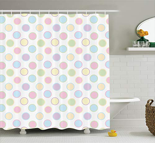 Trendy Dots - Ambesonne Polka Dots Home Decor Collection, An Image of Round Polka Dots Cheerful Childish Trendy Vintage Bohemian Spots Print, Polyester Fabric Bathroom Shower Curtain Set with Hooks, Multi
