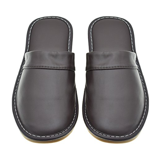 Slippers House Indoor Comfy Synthetic Shoes Mens Maylian Leather Brown Water Indoor Resistant xnIqYFg